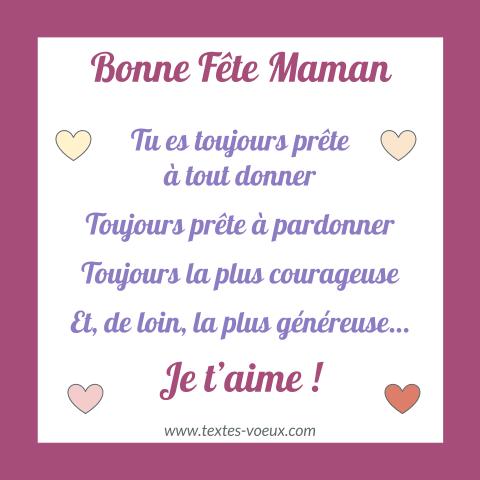 Message Original Bonne Fête Maman Je Taime Beau Texte
