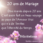 Félicitations 20 ans de mariage -Message Noce de Porcelaine