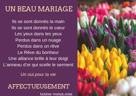 Carte mariage poétique mariage