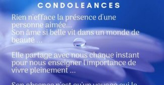 Jolie carte de condoléances touchante pour une amie en deuil