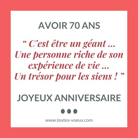 message anniversaire 70 ans original textes de voeux carte et sms. Black Bedroom Furniture Sets. Home Design Ideas