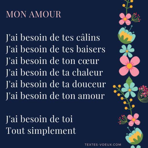 Poèmes Damour Courts Petit Poème Je Taime Message